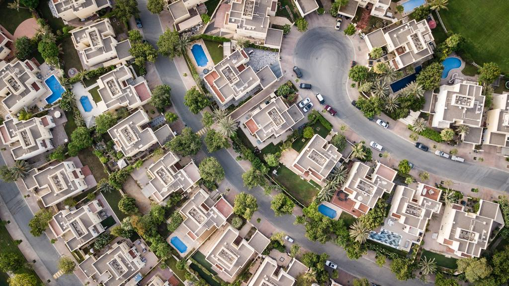 Aerial view of real estate in suburb